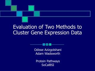 Evaluation of Two Methods to Cluster Gene Expression Data