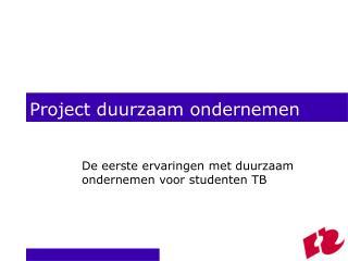 Project duurzaam ondernemen