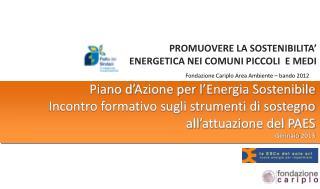 Fondazione Cariplo Area Ambiente � bando 2012