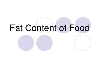 Fat Content of Food