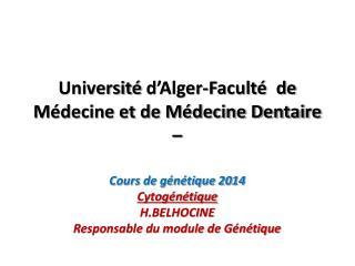 Université  d'Alger-Faculté  de Médecine et de Médecine Dentaire –