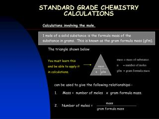 STANDARD GRADE CHEMISTRY CALCULATIONS