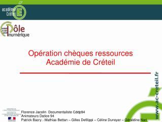 Opération chèques ressources Académie de Créteil