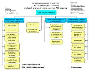 Организационная структура  ТОО «КазМунайГаз-Сервис» с общей штатной численностью 765 единиц