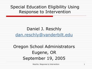 Special Education Eligibility Using Response to Intervention