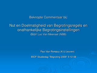 """BIOF-Studiedag """"Begroting 2009"""" 5-12-08"""