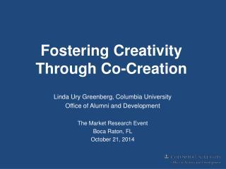 Fostering Creativity Through Co-Creation