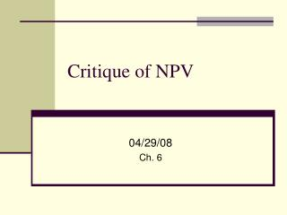 Critique of NPV