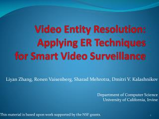 Video Entity Resolution: Applying ER Techniques for Smart Video Surveillance