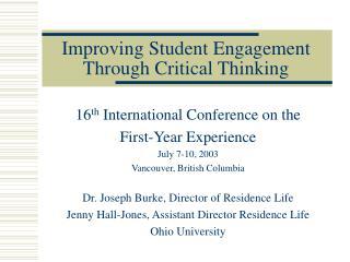 Improving Student Engagement Through Critical Thinking
