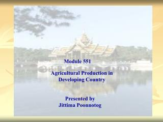 Agricultural Production in Developing Country