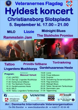 Hyldest koncert Christiansborg Slotsplads 5. September kl. 17.00 – 21.00
