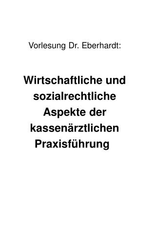 Vorlesung Dr. Eberhardt: