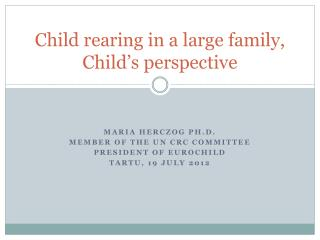 Child rearing in a large family,  Child's perspective