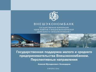 Государственная поддержка малого и среднего предпринимательства Внешэкономбанком.