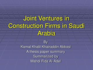 Joint Ventures in Construction Firms in Saudi Arabia