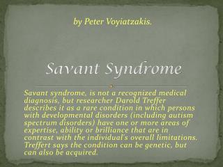 Savant Syndrome