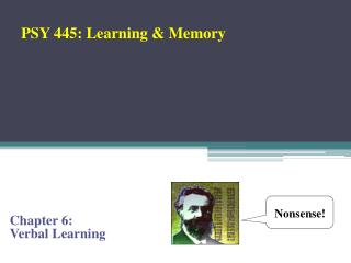 Chapter 6:  Verbal Learning
