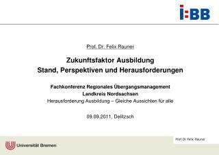 Prof. Dr. Felix Rauner Zukunftsfaktor Ausbildung  Stand, Perspektiven und Herausforderungen