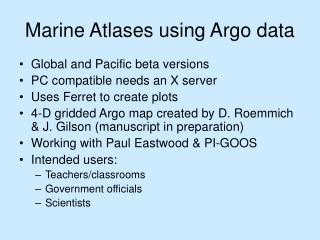 Marine Atlases using Argo data