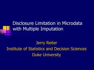 Disclosure Limitation in Microdata with Multiple Imputation