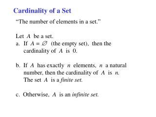 Cardinality of a Set