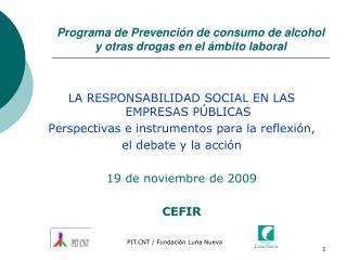 Programa de Prevención de consumo de alcohol y otras drogas en el ámbito laboral