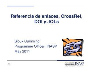 Referencia de enlaces, CrossRef, DOI y JOLs