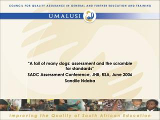 """""""A tail of many dogs: assessment and the scramble for standards"""""""
