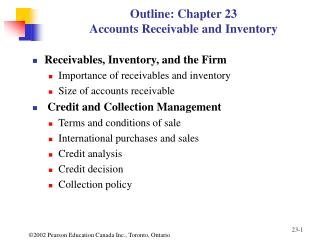 Outline: Chapter 23 Accounts Receivable and Inventory