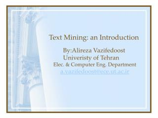 Text Mining: an Introduction