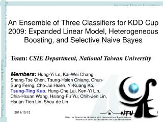 Team:  CSIE Department, National Taiwan University