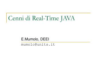 Cenni di Real-Time JAVA