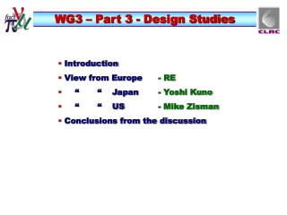 WG3 – Part 3 - Design Studies