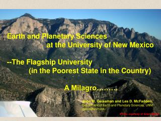 Earth and Planetary Sciences                     at the University of New Mexico