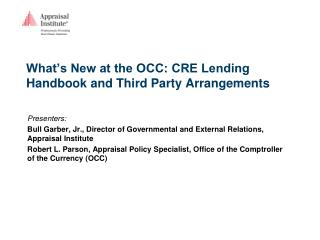 What's New at the OCC: CRE Lending Handbook and Third Party Arrangements