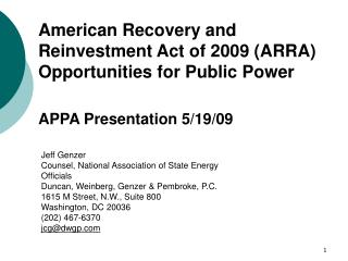 American Recovery and Reinvestment Act of 2009 (ARRA) Opportunities for Public Power