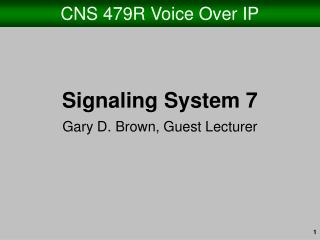 CNS 479R Voice Over IP