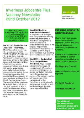 Inverness Jobcentre Plus, Vacancy Newsletter 22nd October 2012