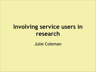 Involving service users in research
