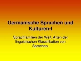 Germanische Sprachen und Kulturen -I