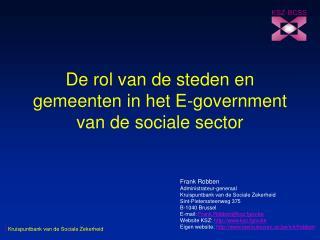 De rol van de steden en gemeenten in het E-government van de sociale sector