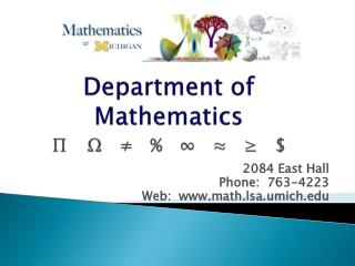 Department  of Mathematics ∏ 	Ω   ≠   %   ∞   ≈   ≥   $