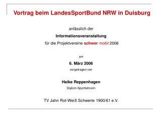 Vortrag beim LandesSportBund NRW in Duisburg