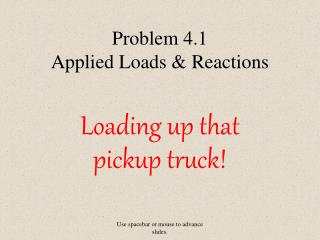 Problem 4.1 Applied Loads & Reactions