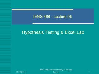 IENG 486 - Lecture 06