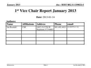 1 st  Vice Chair Report January 2013