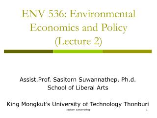 ENV 536: Environmental Economics and Policy (Lecture 2)