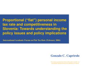International Academic Forum on Flat Tax Rate  ( February 2006)