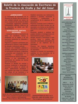 Boletín de la Asociación de Escritores de la Provincia de Ocaña y Sur del Cesar